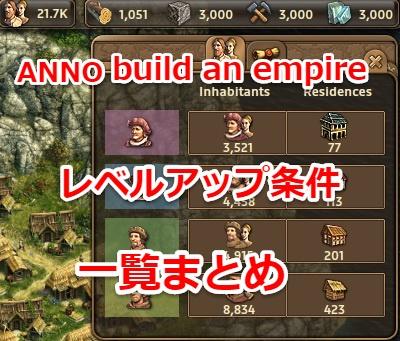 「ANNO:build an empire」レベルアップ条件とアンロック内容まとめ