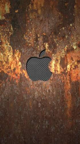 錆びたメタルに浮かぶAppleロゴ