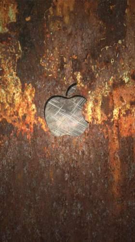 錆びたメタルに浮かぶAppleメタルロゴ