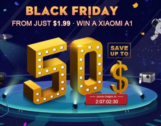 【TOMTOP】最大のセール「ブラックフライデー」開催。無料クジで毎日3回Xiaomi A1が当たるチャンスも!
