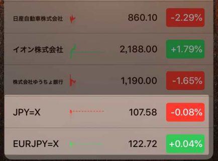 【iPhone】標準の「株価アプリ」だけで為替レートをウィジェット内に表示する方法
