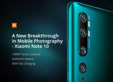 【クーポン発行】B19対応1億800万画素カメラ機「Xiaomi Note10」詳細スペック判明