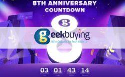 【Geekbuying】$188 相当のクーポンがもらえる「8周年記念セールのカウントダウンイベント」開催